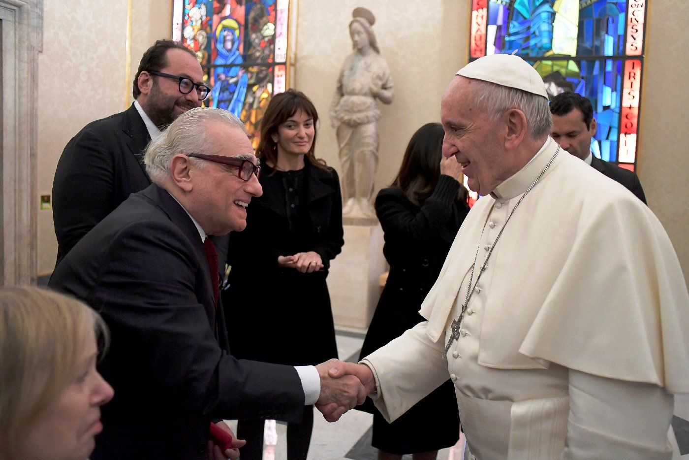 Pope Francis meets film director Martin Scorsese during a private audience at the Vatican November 30, 2016. Osservatore Romano/Handout via REUTERS ATTENTION EDITORS - THIS PICTURE WAS PROVIDED BY A THIRD PARTY. EDITORIAL USE ONLY. NO RESALES. NO ARCHIVE.