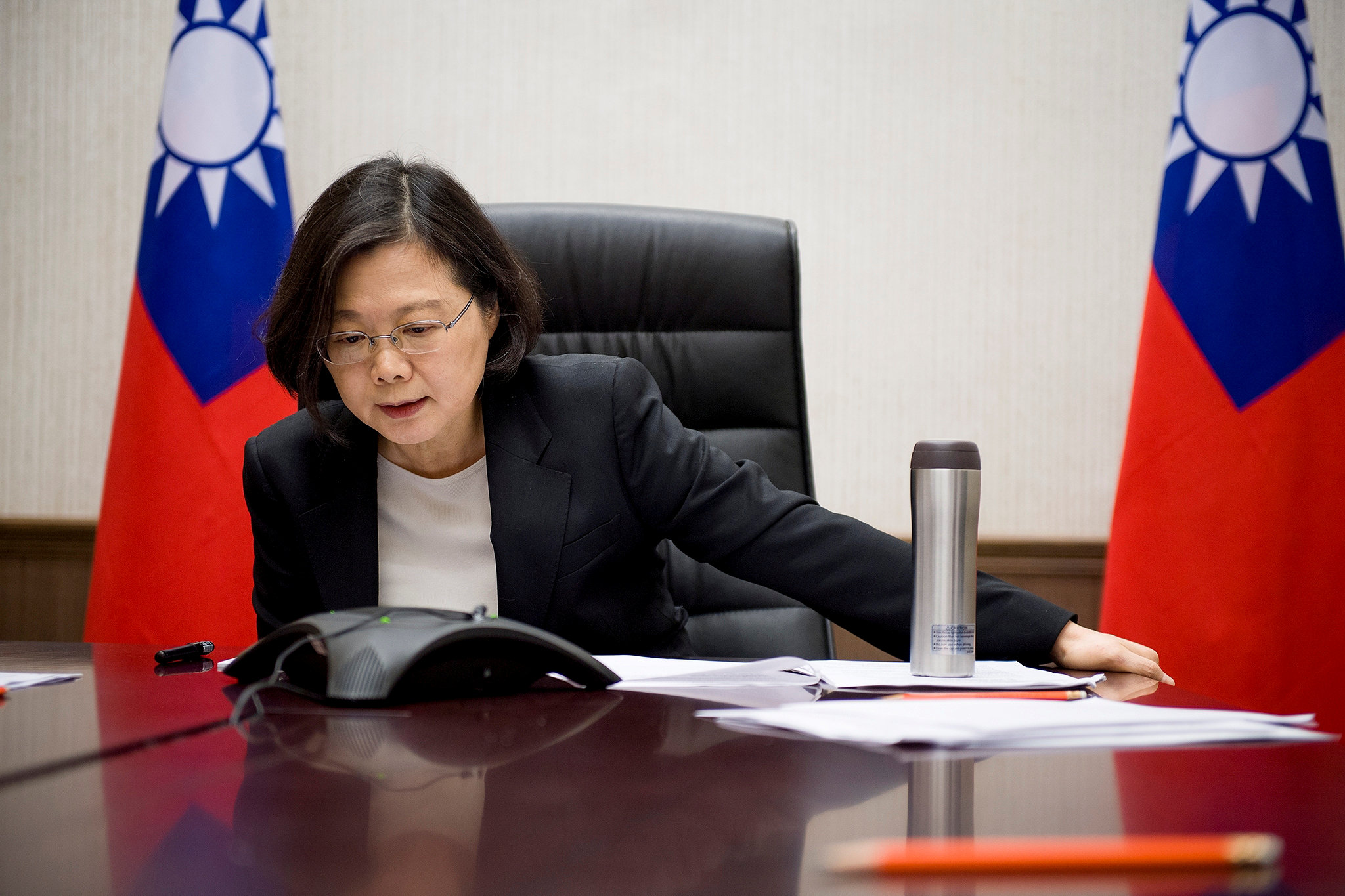 Taiwan's President Tsai Ing-wen speaks on the phone with U.S. president-elect Donald Trump at her office in Taipei, Taiwan, in this handout photo made available December 3, 2016.   Taiwan Presidential Office/Handout via REUTERS/File Photo      ATTENTION EDITORS - THIS IMAGE WAS PROVIDED BY A THIRD PARTY. EDITORIAL USE ONLY. NO RESALES. NO ARCHIVE. TAIWAN OUT.