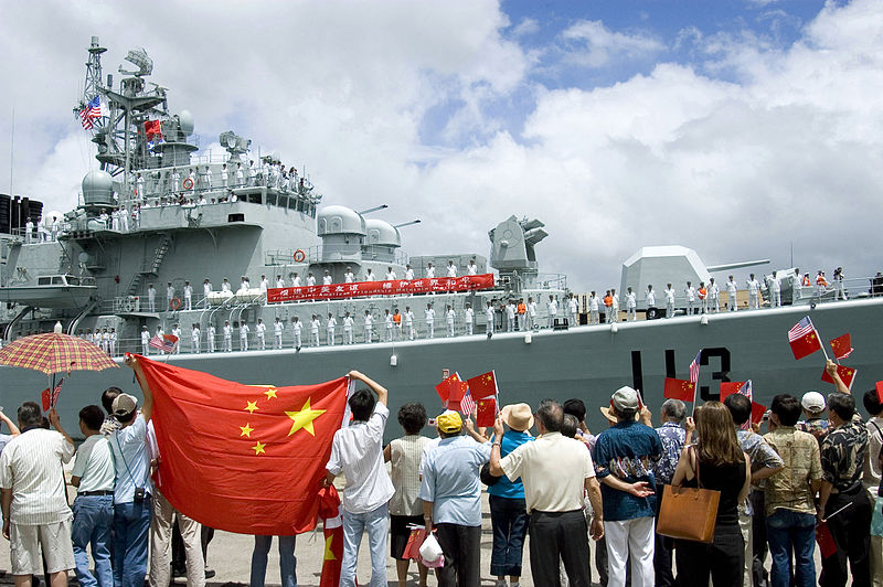 Chinese Navy destroyer Qingdao in Pearl Harbor