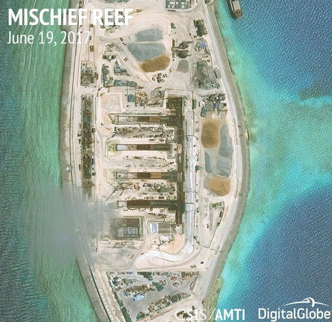 Handout of construction is shown on Mischief Reef, in the Spratly Islands, the disputed South China Sea