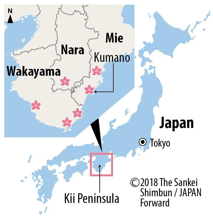 The new species, Kumanozakura map