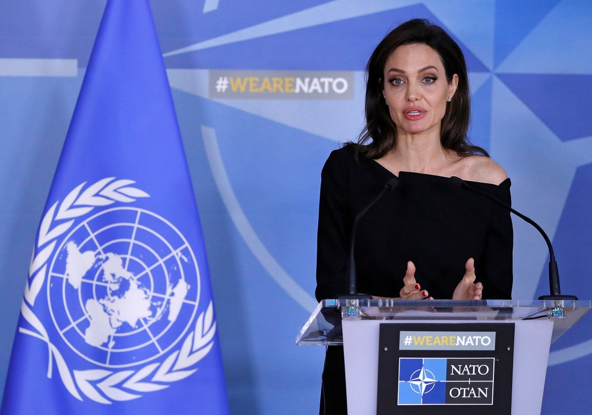 UNHCR Special Envoy actor Angelina Jolie takes part in a news conference at the NATO headquarters in Brussels, Belgium