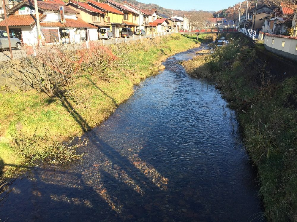 The iron-red river of Yoshida-cho