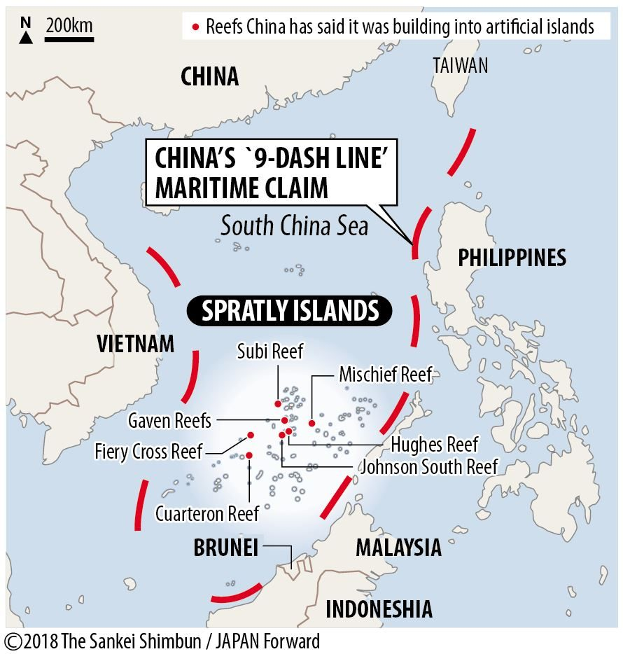 Map of South China Sea and Territorial Claims