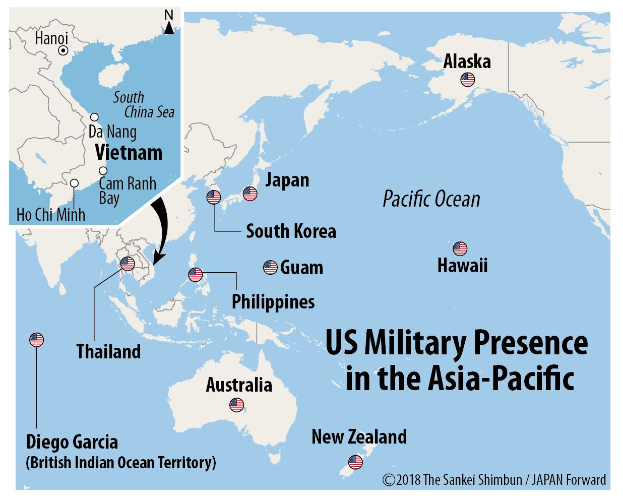 Map of US Military Presence in the Asia-Pacific