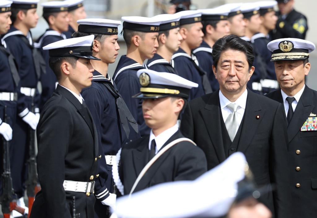 Prime Minister Abe at Yokosuka base.