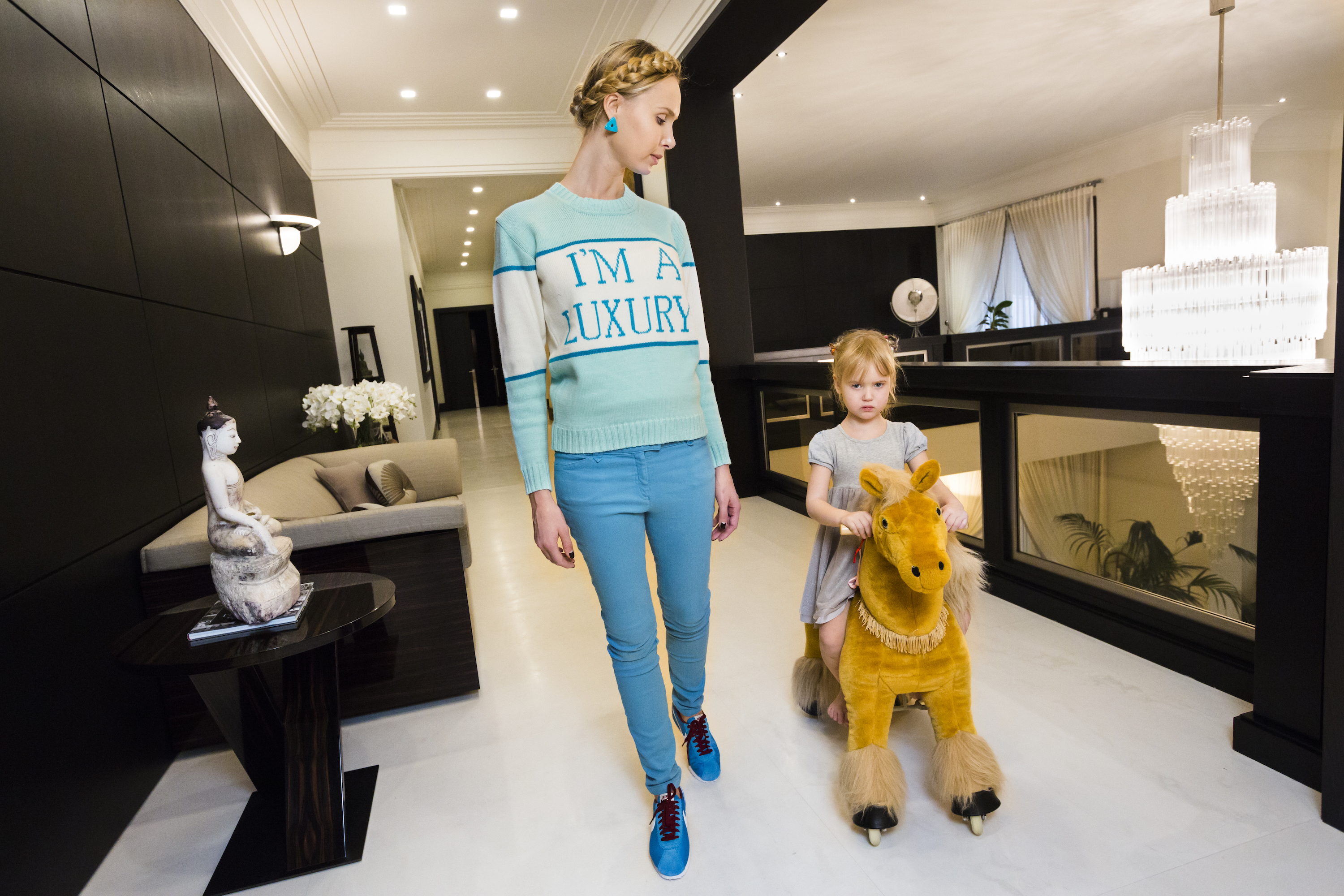 Iona at home with her daughter, Michelle, 4, Moscow, 2012