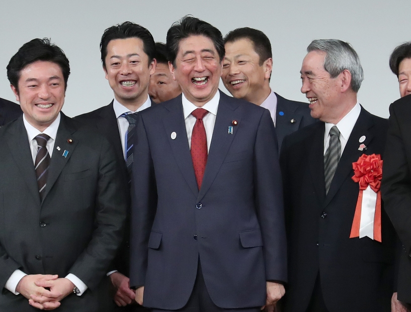 Prime Minister Shinzo Abe and LDP MPs