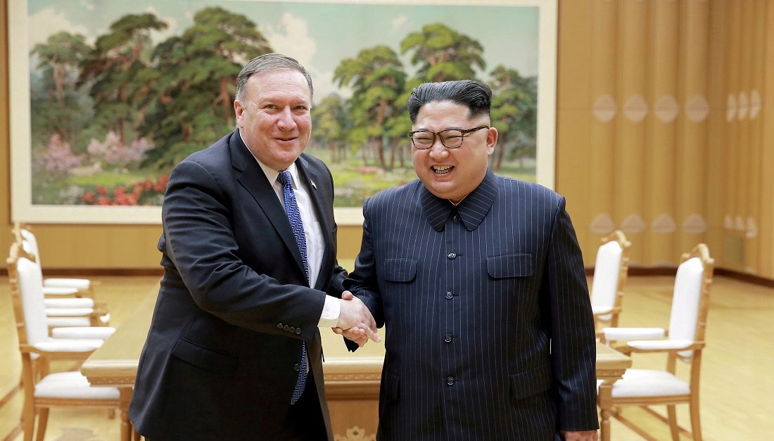 North Korean leader Kim Jong-un and U.S. Secretary of State Mike Pompeo