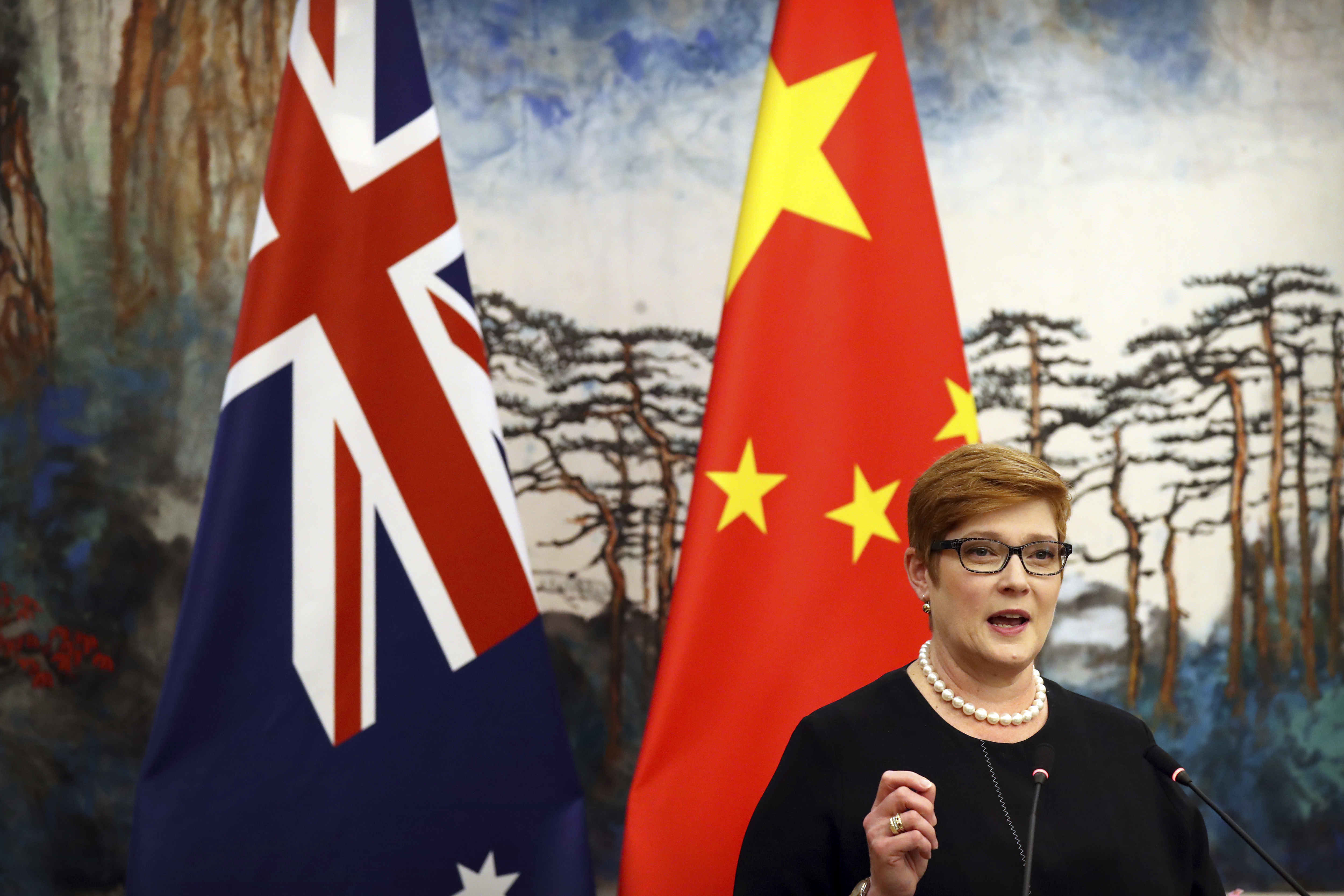 Australian Foreign Minister Marise Payne and Chinese Foreign Minister Wang Yi shake hands at a news conference at the Diaoyutai State Guesthouse in Beijing