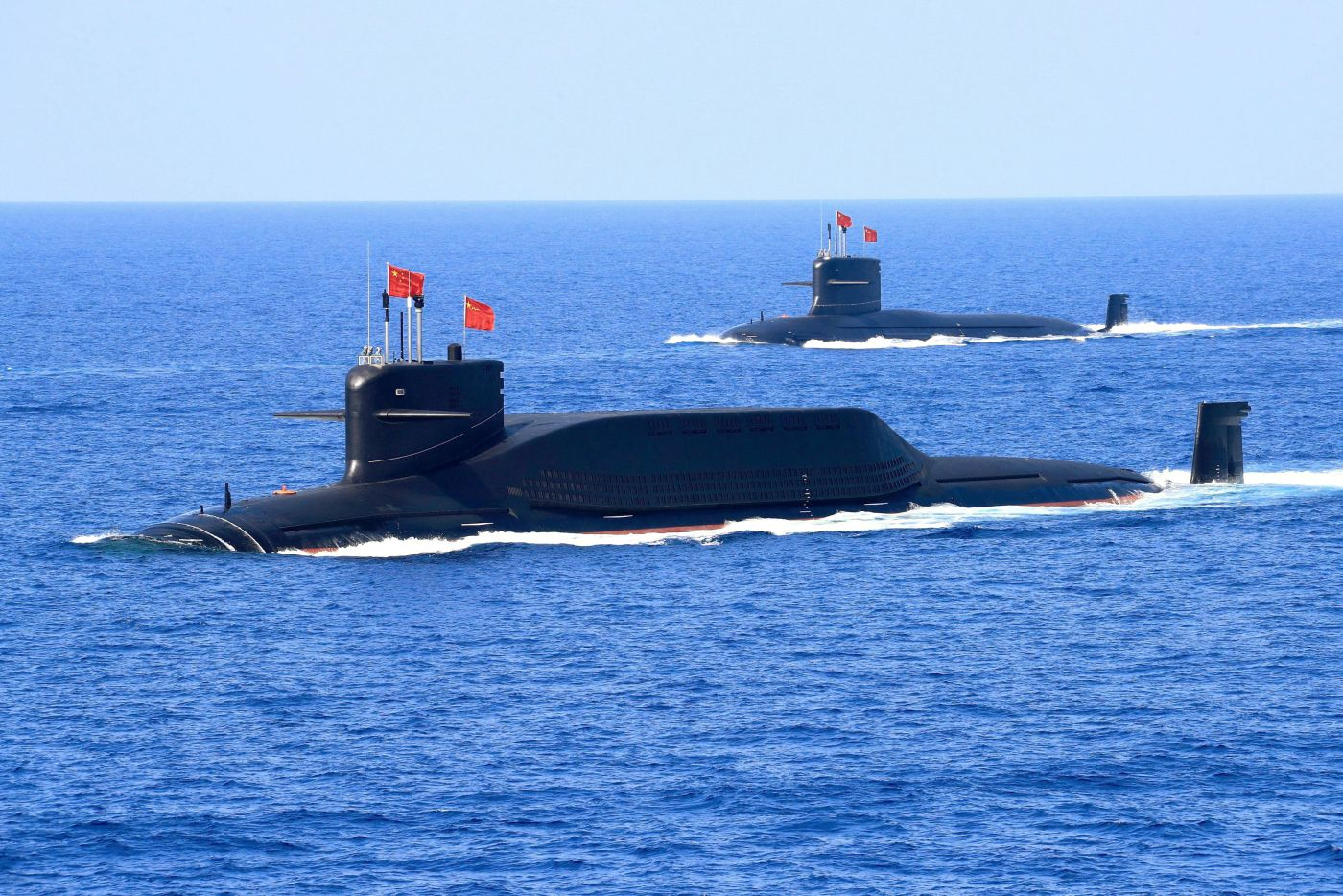 Nuclear-powered Type 094A Jin-class ballistic missile submarine of the Chinese People's Liberation Army (PLA) Navy is seen during a military display in the South China Sea