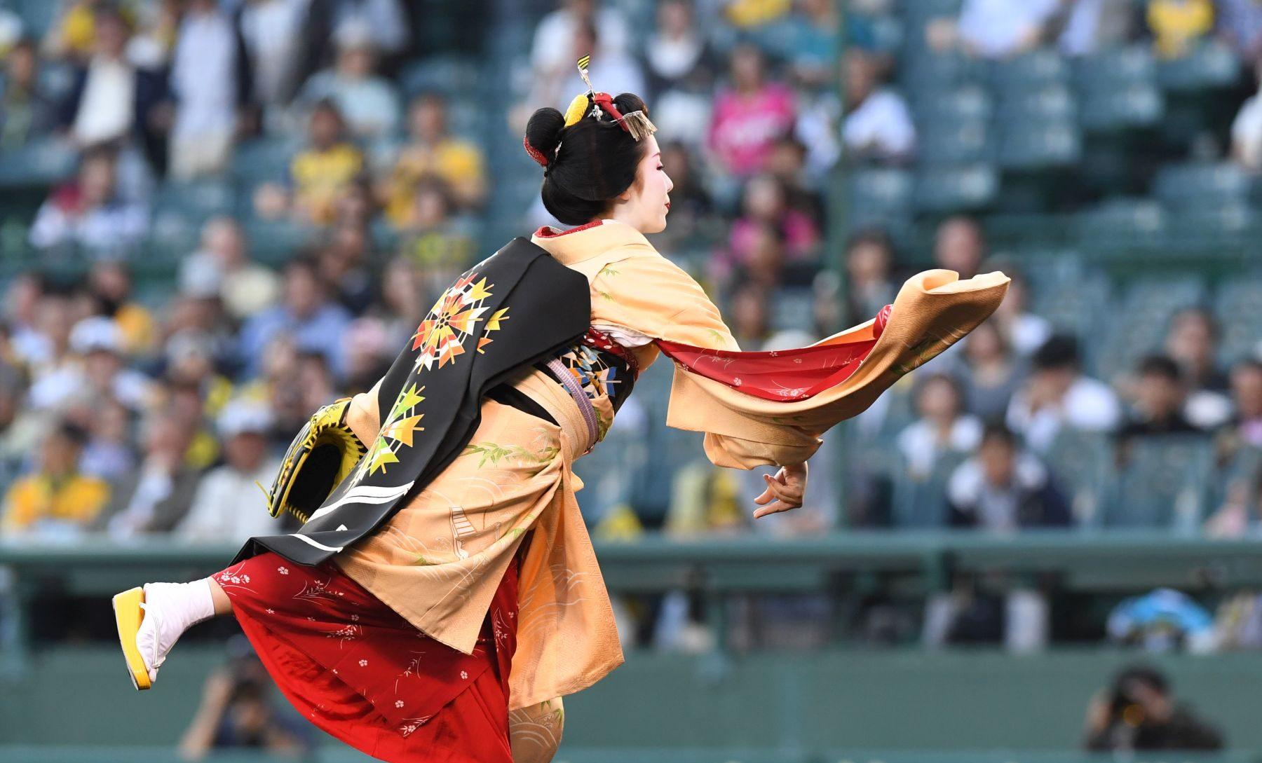 Maiko First Pitch of the Baseball Season