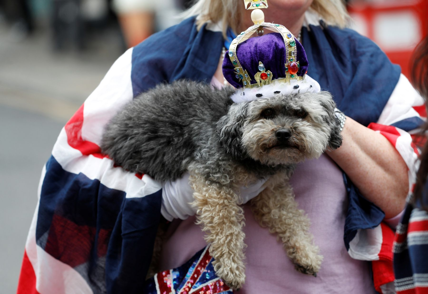 Caroline Wagstaff and her dog Boots wear crowns outside Windsor Castle