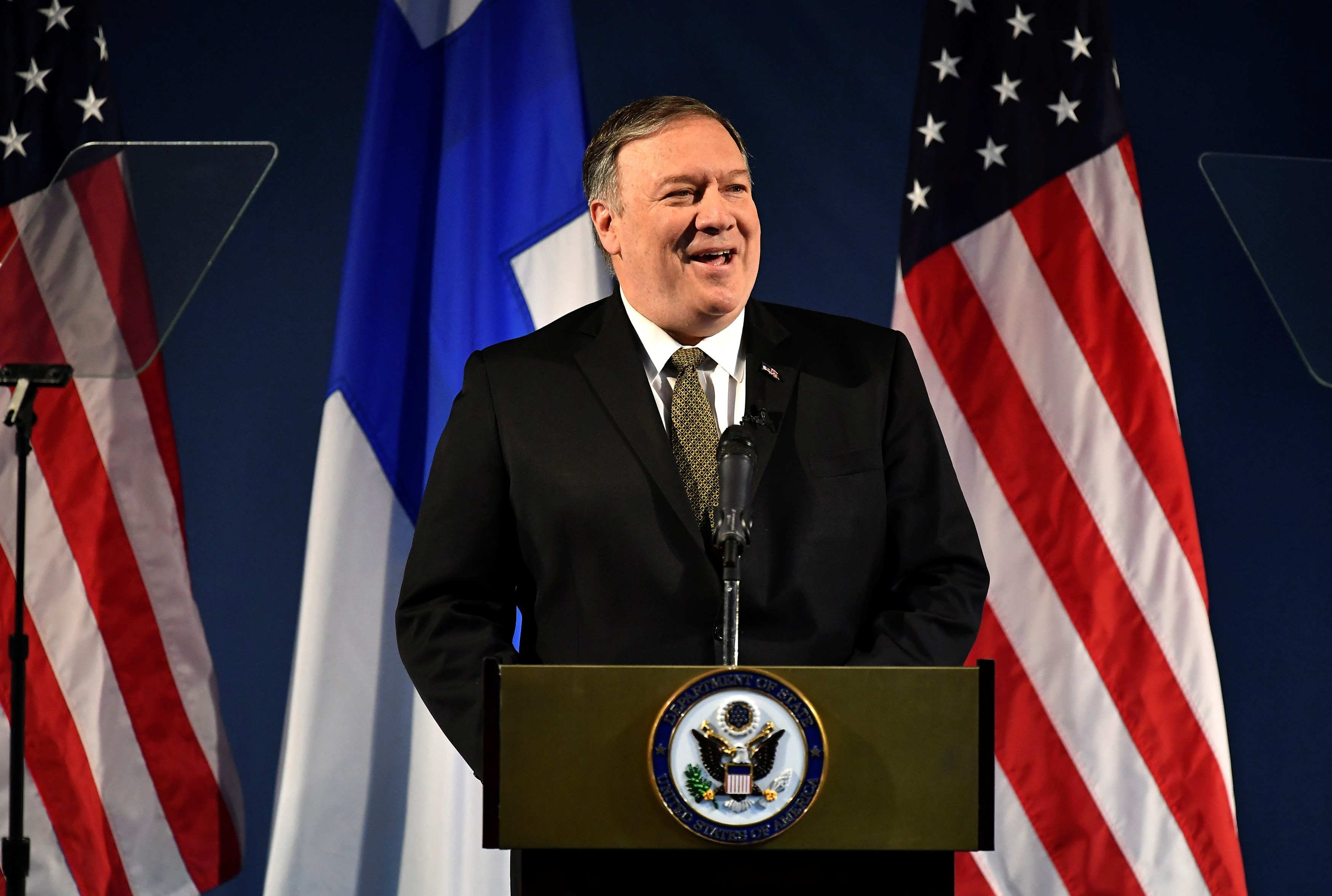 U.S. Secretary of State Mike Pompeo speaks on Arctic policy at the Lappi Areena in Rovaniemi