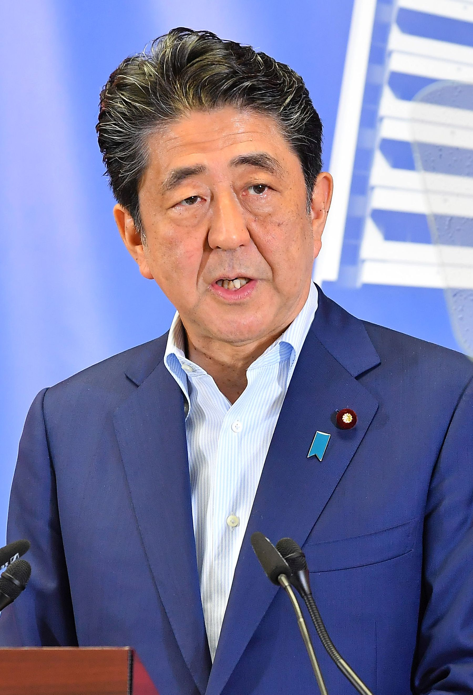 Japan PM Shinzo Abe after the Victory at the Upper House Election