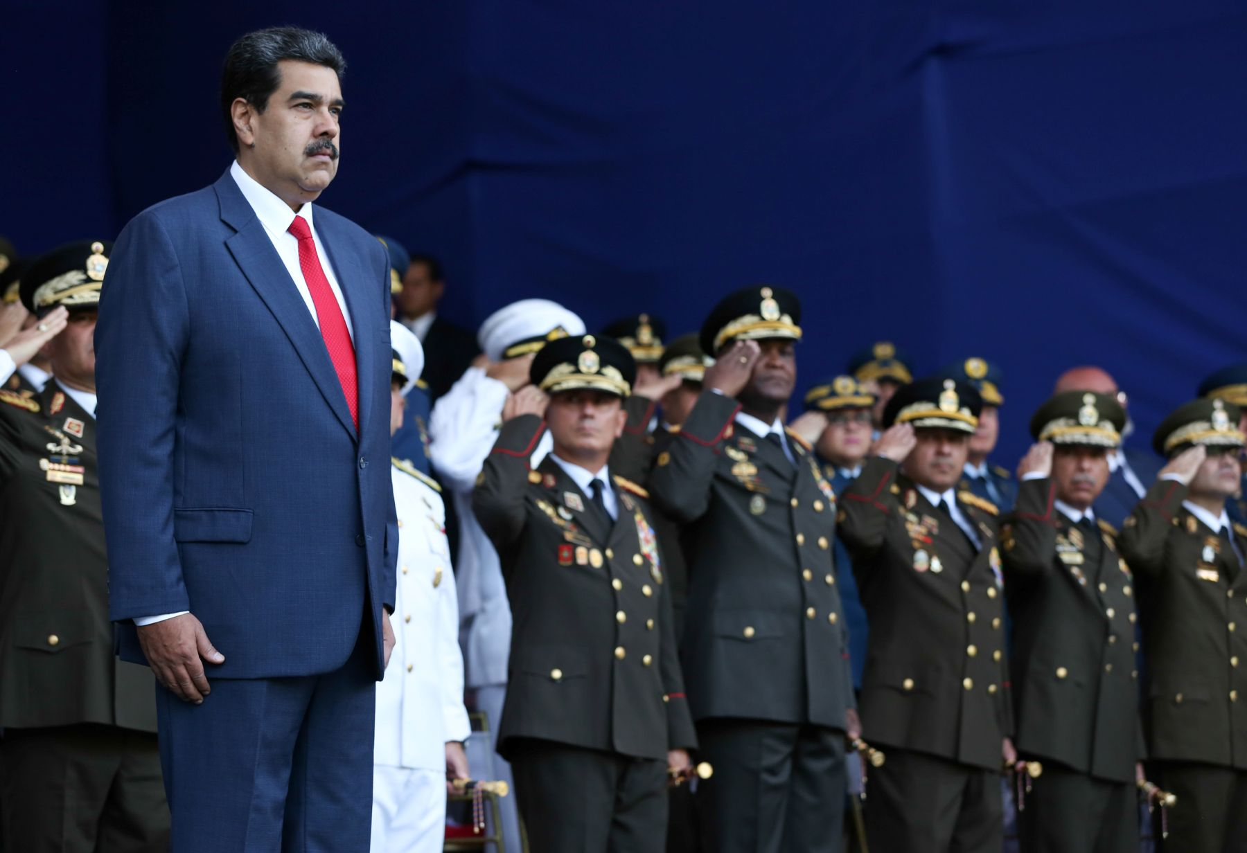 Venezuela's President Nicolas Maduro takes part in a military ceremony in Caracas