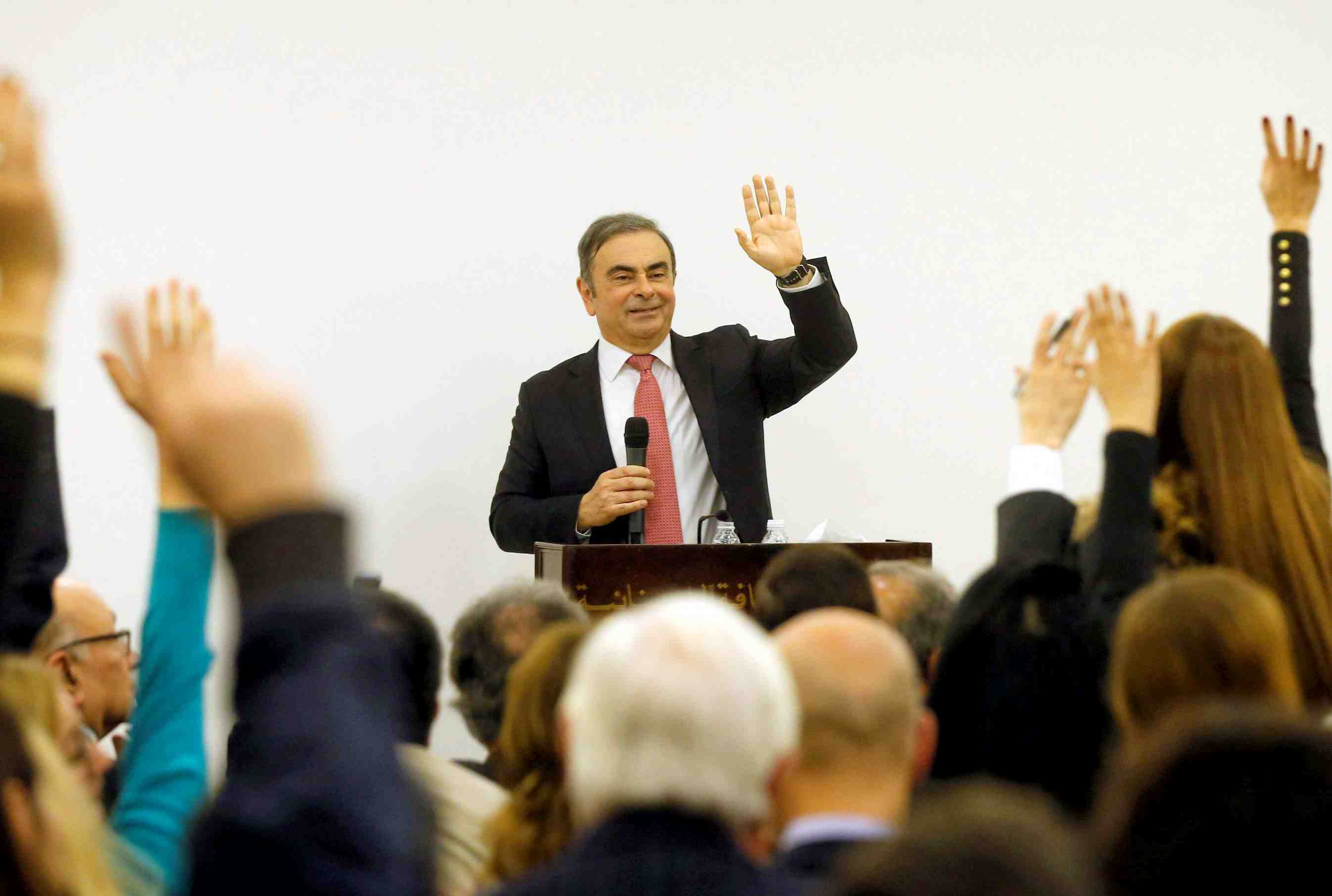 Former Nissan chairman Carlos Ghosn answers questions during a news conference at the Lebanese Press Syndicate in Beirut