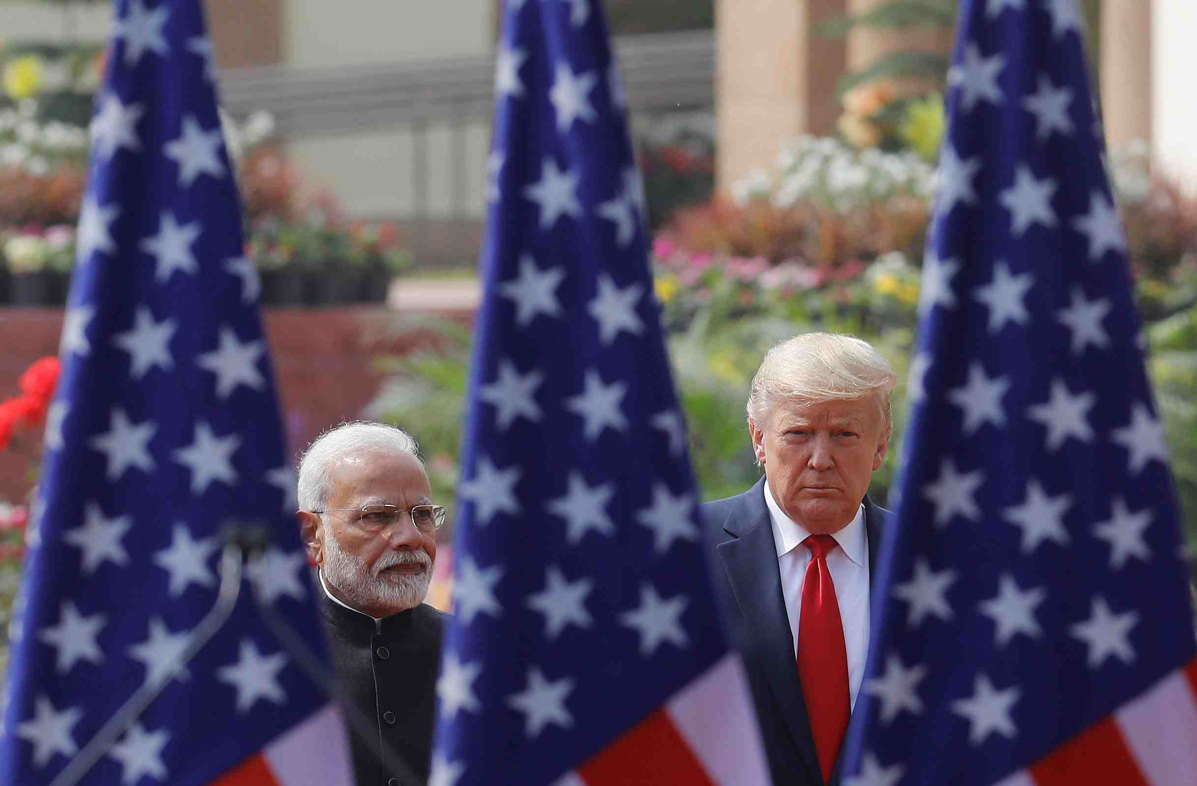 U.S. President Donald Trump and India's Prime Minister Narendra Modi arrive for their joint news conference at Hyderabad House in New Delhi