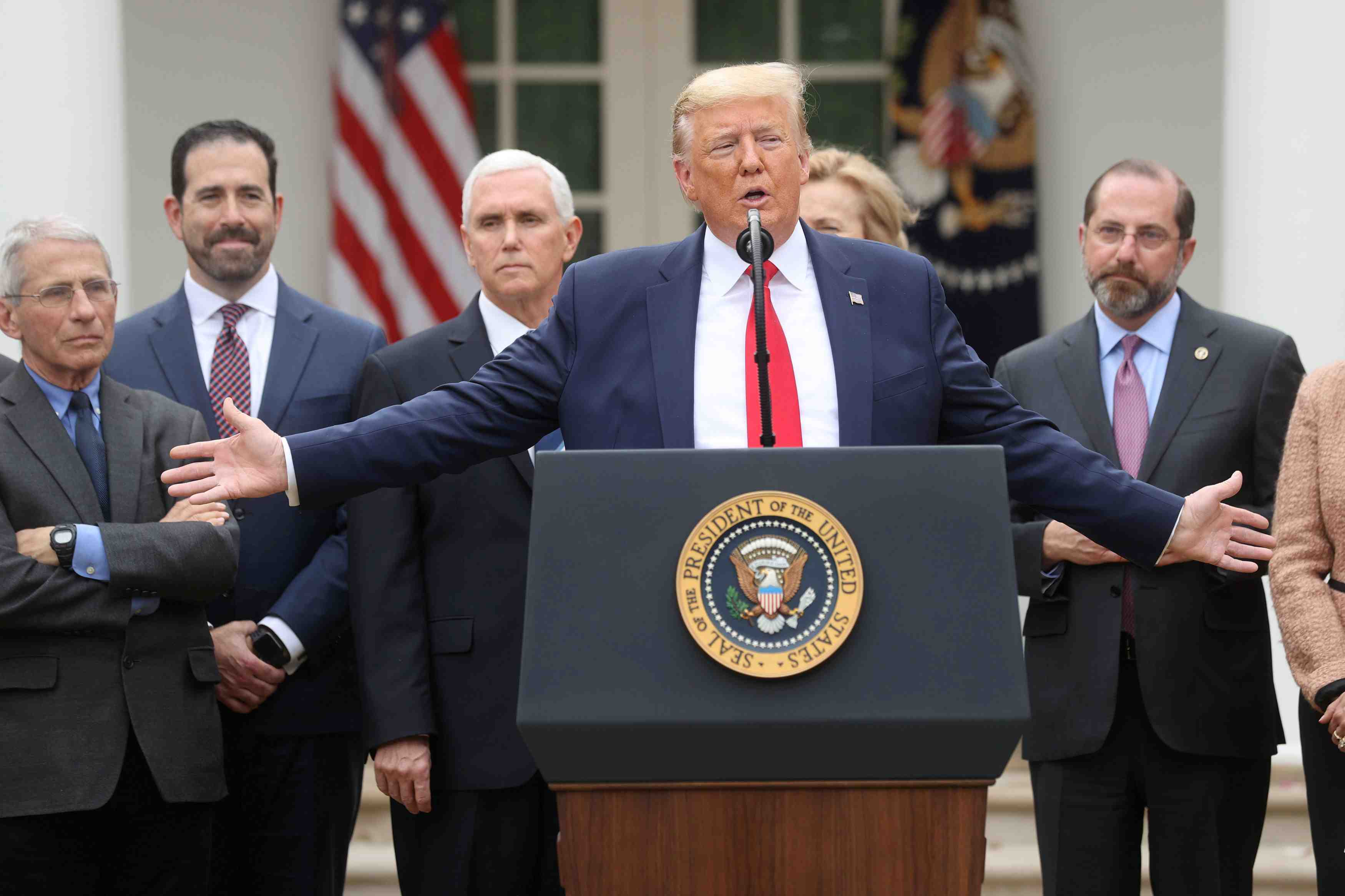 U.S. President Trump declares coronavirus pandemic a national emergency during news conference at the White House in Washington