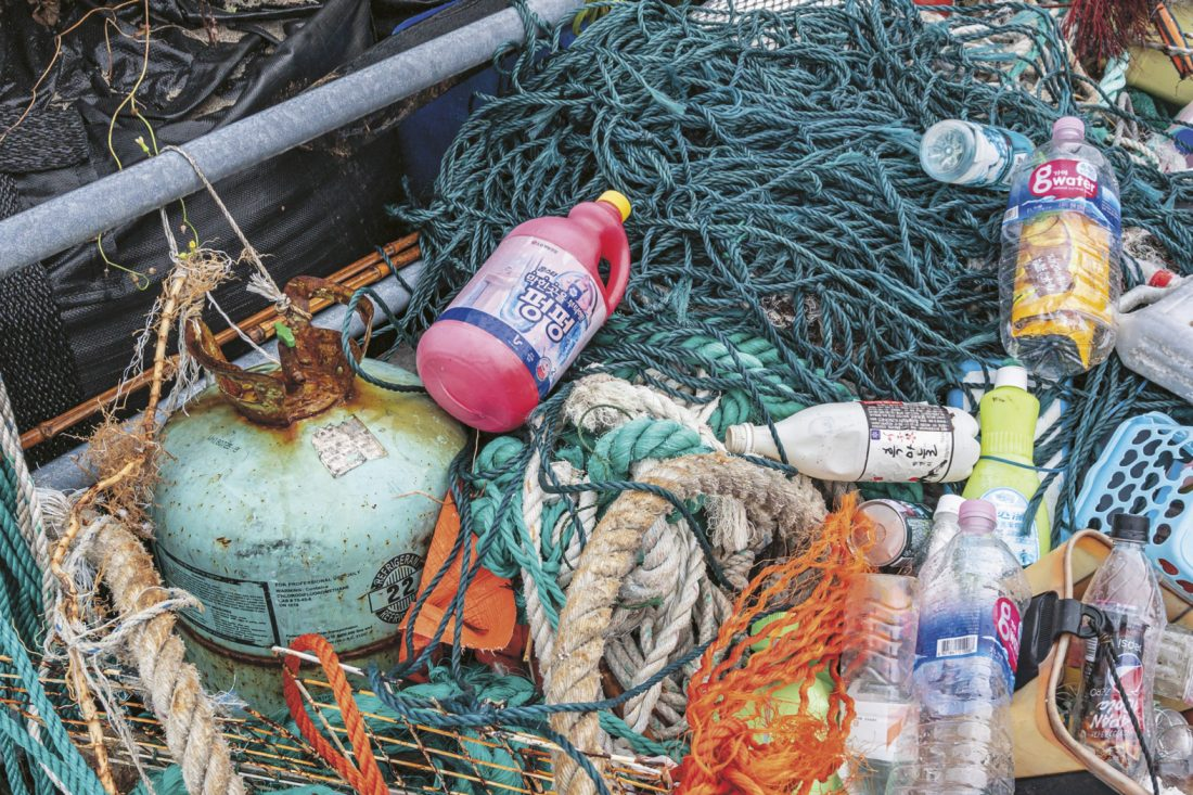 Much of the household garbage dumped into the sea in nearby countries floats over to Tsushima.