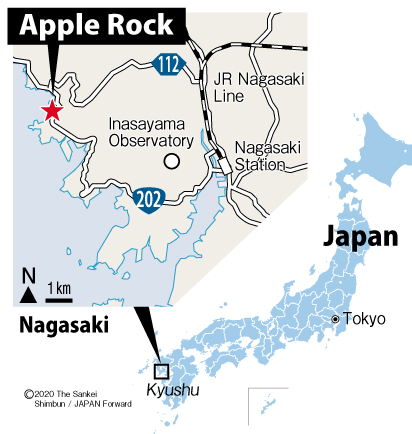 JF Map Apple Rock at Nagasaki