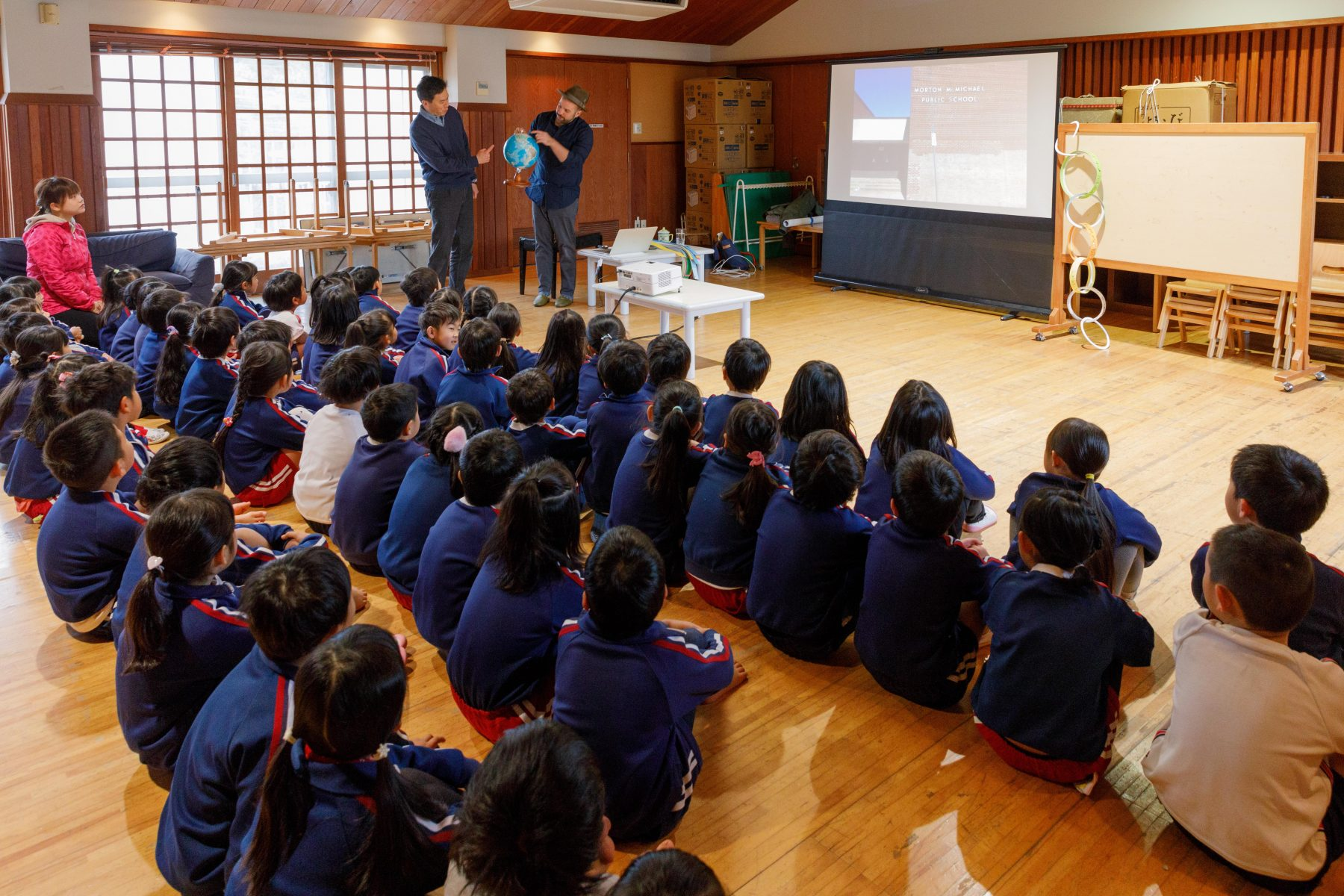 Ben Volta and cho Kuwakado with students in Saiki City in January