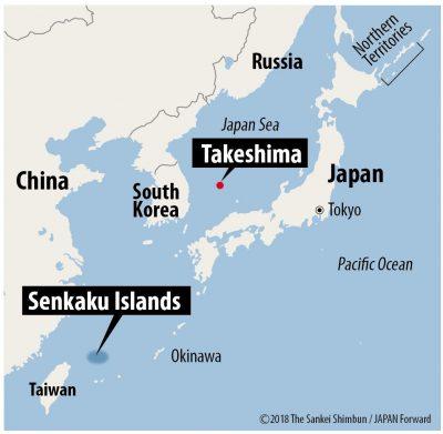 Map of Japan with Takeshima Senkaku and Northern Territories