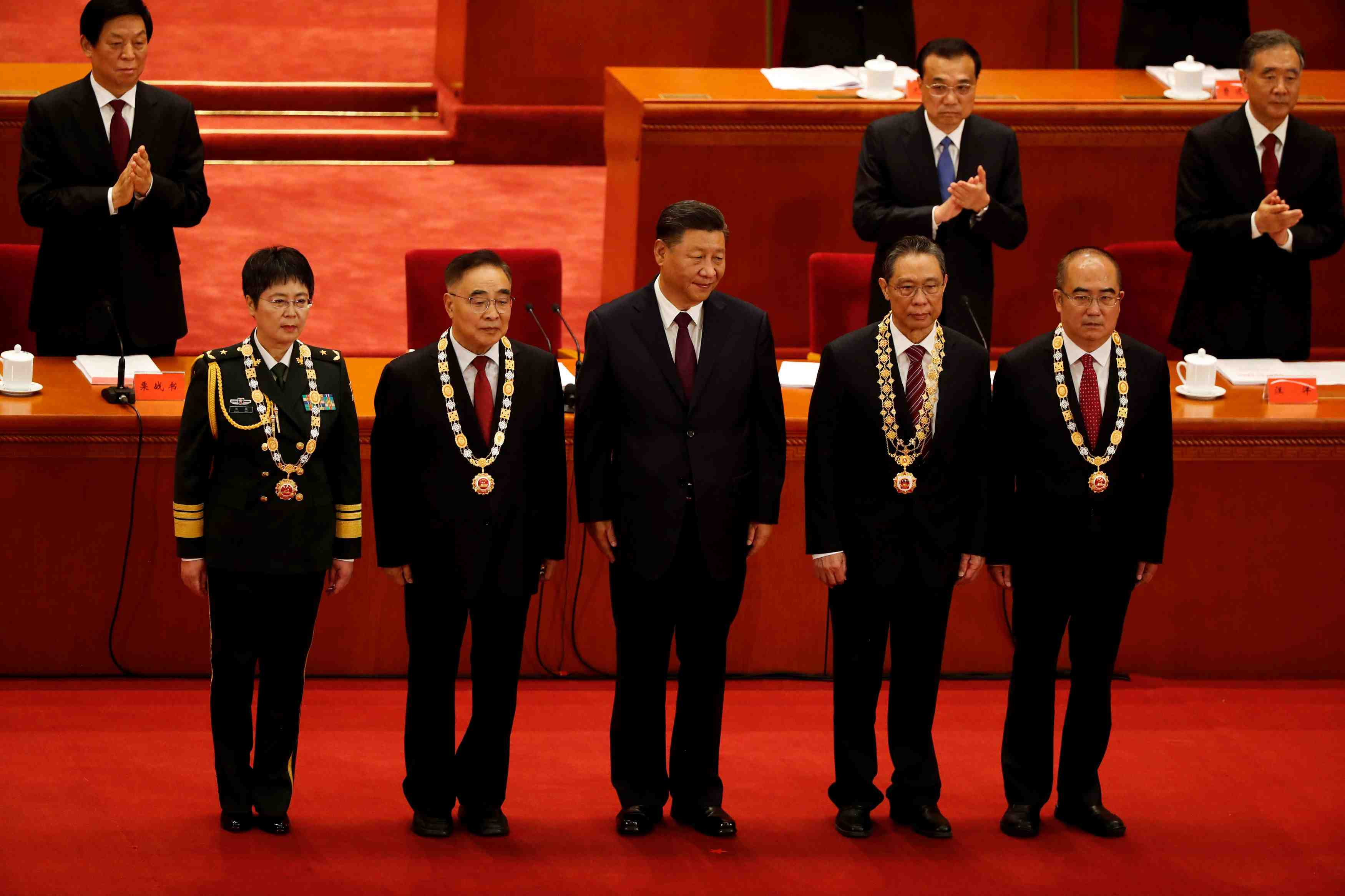 Meeting to commend role models in China's fight against the coronavirus disease (COVID-19) outbreak, at the Great Hall of the People in Beijing