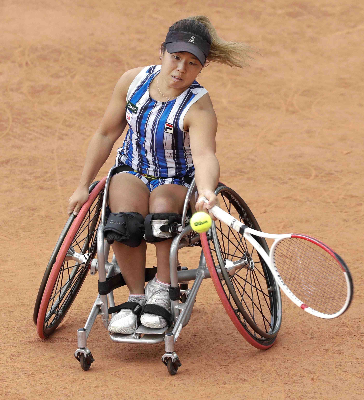 Japan's Yui Kamiji after winning the women's wheelchair final match of the French Open tennis 006