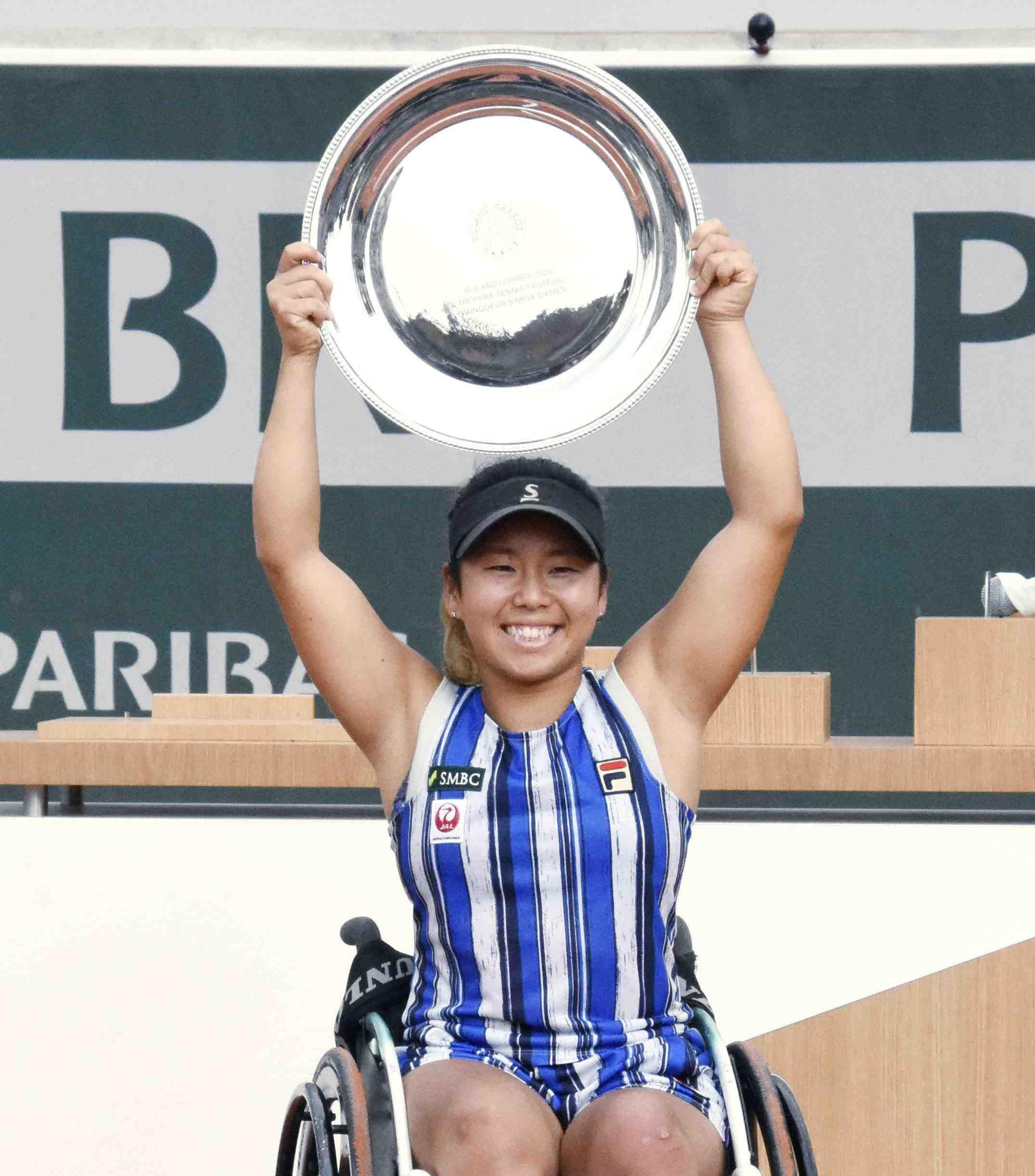 Japan's Yui Kamiji after winning the women's wheelchair final match of the French Open tennis 008