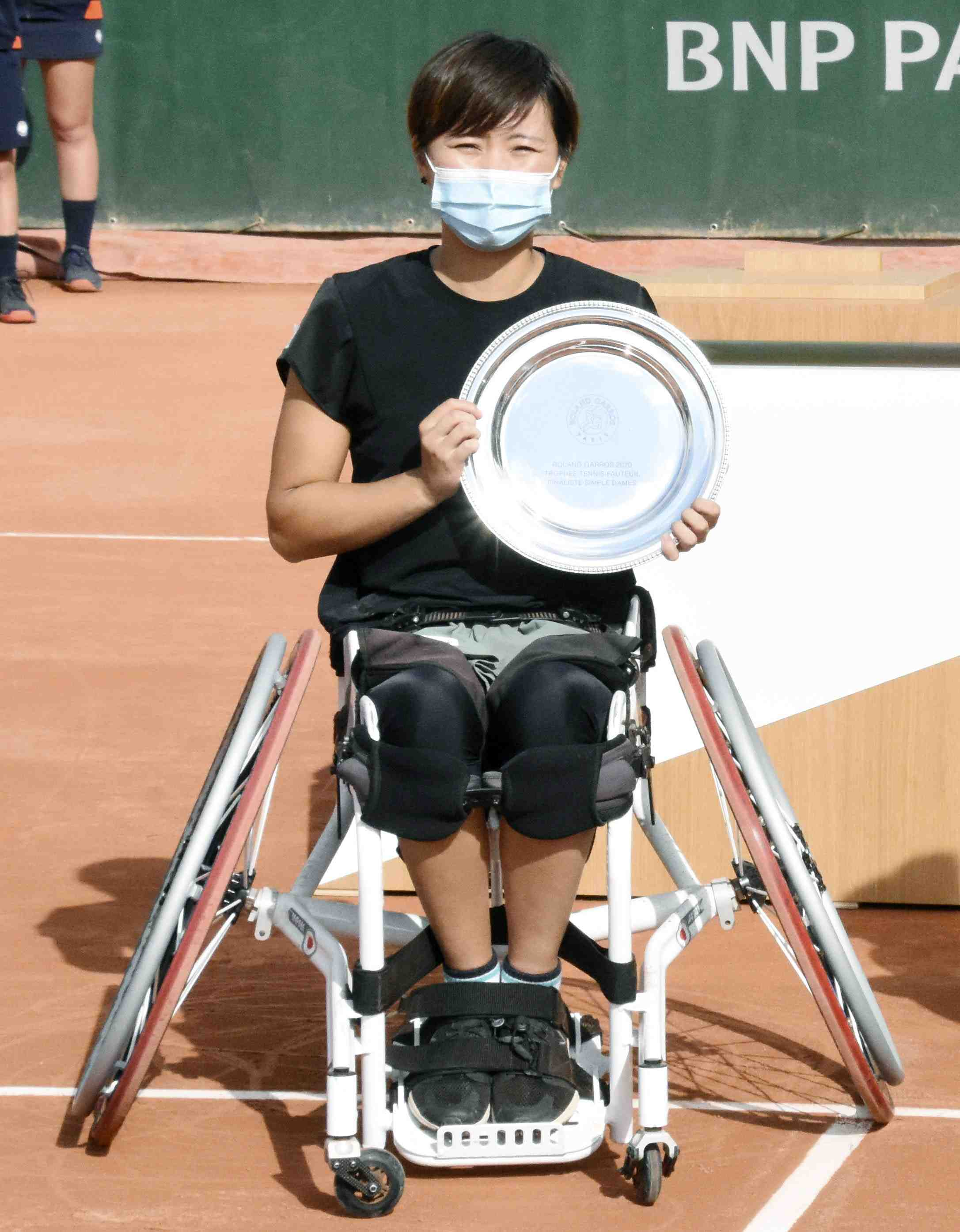 Japan's Yui Kamiji after winning the women's wheelchair final match of the French Open tennis 010
