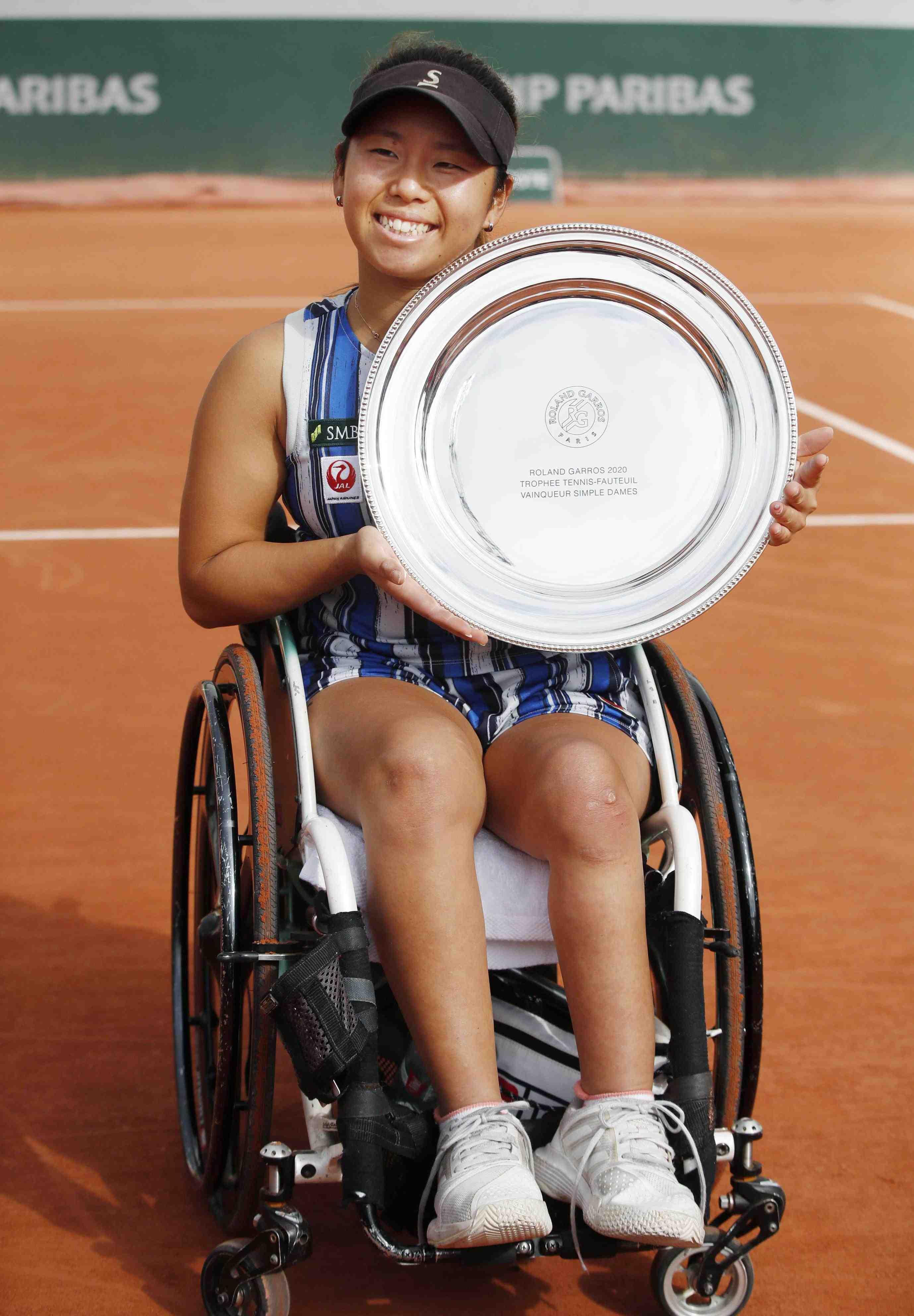 Japan's Yui Kamiji after winning the women's wheelchair final match of the French Open tennis 012
